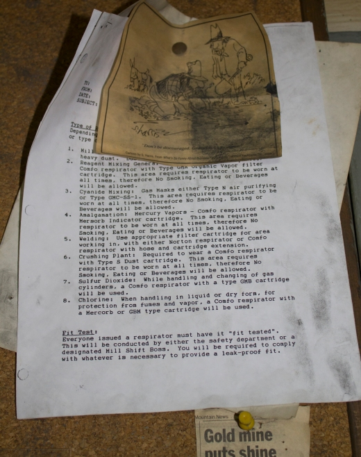A memo and cartoon left at the Mayflower Mine when it closed in 1991.