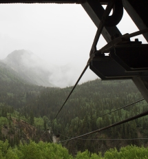 The tram line leading from the Mayflower Mill above Silverton to the Mayflower Mine in Arastra Gulch.