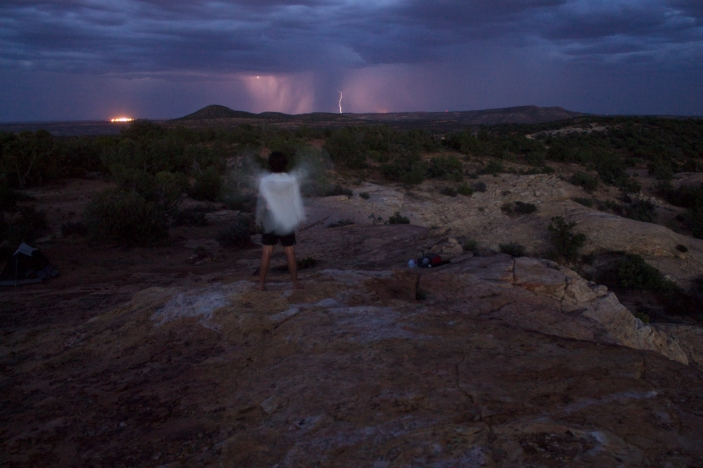 Self portrait with lightning and sky.
