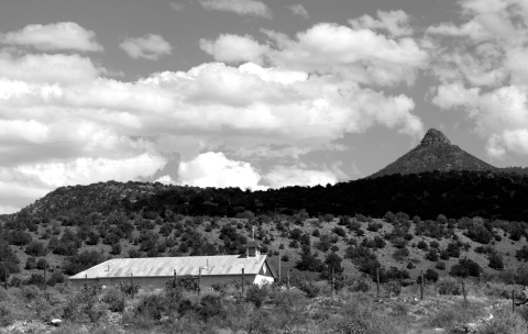 Church and Cerro Pedernal, Youngsville, New Mexico