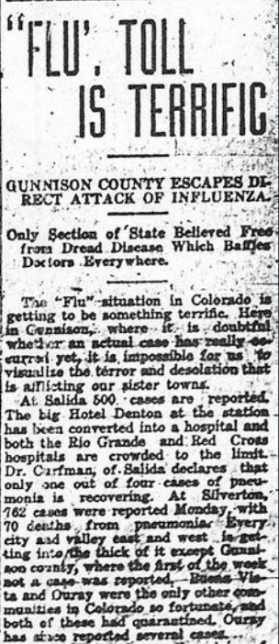 This story ran in early November, when the Gunnison County quarantine was enacted.